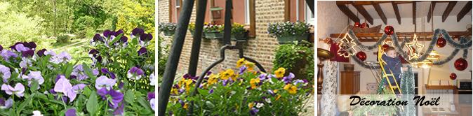 jardin, parking,vue des chambres du gîte de la tuilerie